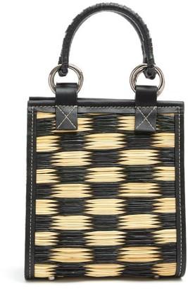 Heimat Atlantica - G Mini Leather-trimmed Woven-reed Tote - Womens - Black Multi