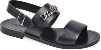 Roberto Cavalli Men's Leather Strap Sandals w/ Metal Bit
