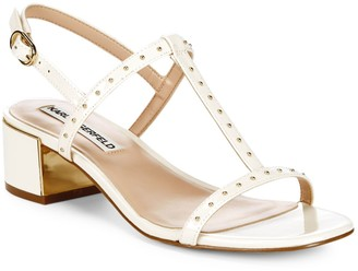 Karl Lagerfeld Paris Tineet Studded Patent Leather Sandals