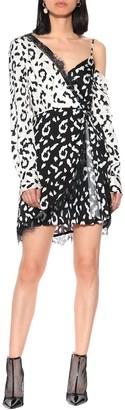 Self-Portrait Lace-trimmed leopard-print dress