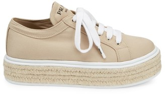 Prada Canvas Espadrille Platform Sneakers