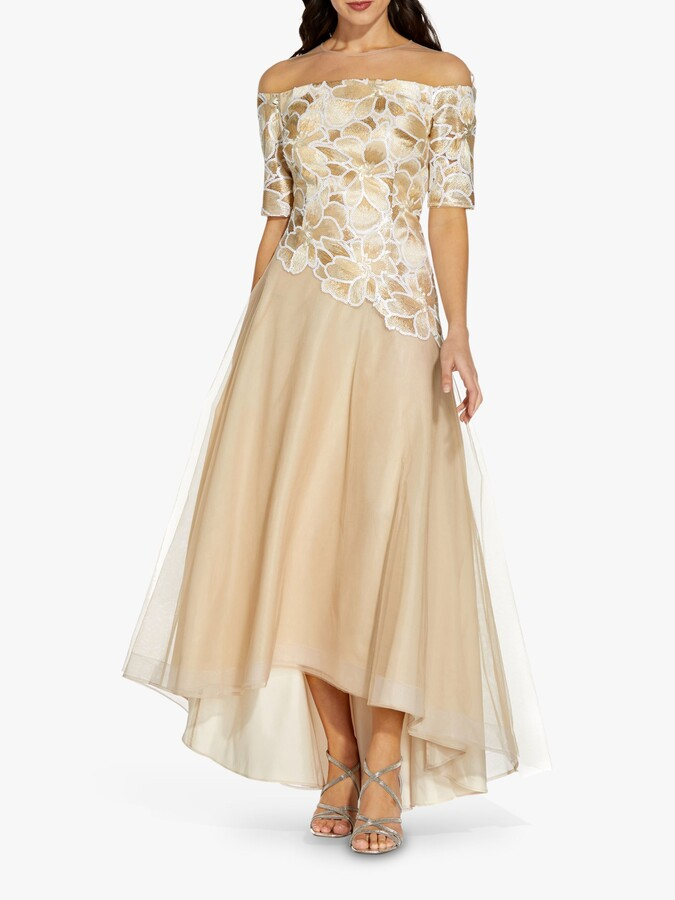 Adrianna Papell Bardot Embroidered Gown, Champagne/Ivory
