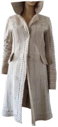 Ermanno Scervino Ecru Shearling Coat for Women