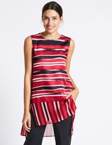 Marks and Spencer Striped Round Neck Sleeveless Tunic
