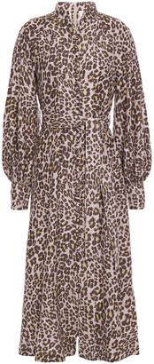 Zimmermann Gathered Leopard-print Silk Midi Dress