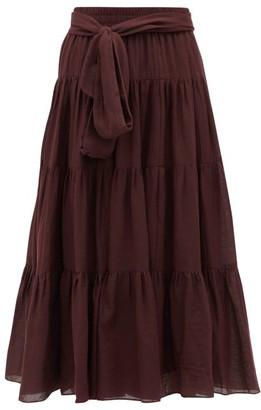 Loup Charmant Demeter Tiered Cotton Midi Skirt - Womens - Dark Purple