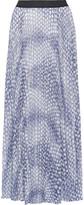 Enza Costa Pleated printed chiffon maxi skirt