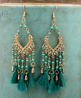 Besheek BeSheek Women's Earrings TEAL - Goldtone & Teal Three-Tassel Chandelier Drop Earrings
