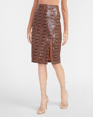 Express High Waisted Vegan Leather Snakeskin Pencil Skirt