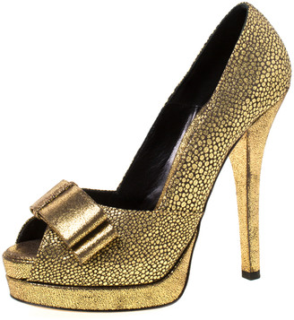 Fendi Metallic Gold Brocade Fabric Deco Bow Peep Toe Platform Pumps Size 39