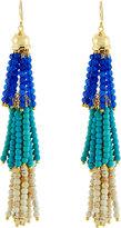 Panacea Layered Beaded Tassel Drop Earrings, Turquoise