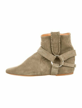 Etoile Isabel Marant Suede Round-Toe Boots Green
