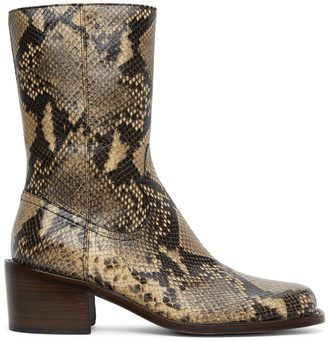 Dries Van Noten Beige Snake Zip-Up Boots
