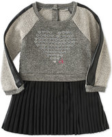 Calvin Klein Little Girls' Faux-Leather Pleated Dress