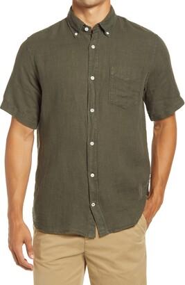 NN07 Tyrion Short Sleeve Linen Button-Down Shirt