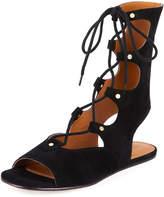 Chloé Suede Mid-Calf Gladiator Sandal, Nero