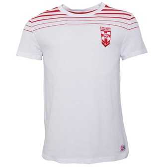 ENGLAND RUGBY LEAGUE Mens Stripe T-Shirt White/Red