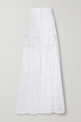 Carolina Herrera Broderie Anglaise Cotton Wide-leg Pants - White