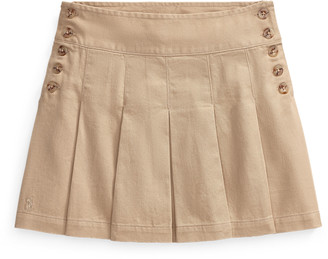 Ralph Lauren Pleated Cotton Chino Skirt