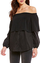 GUESS Annalisa Long Sleeve Off-The-Shoulder Long Sleeve Blouse