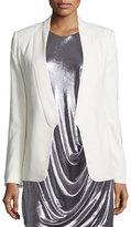 Halston Long Slim Tuxedo Jacket w/ Satin Lapel, Chalk