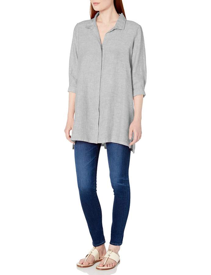 Foxcroft Womens 3//4 Sleeve Skye Chambray Linen Tunic