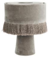 Madam Stoltz - Mustard Velvet Fringed Table Lamp - Grey - Grey/Yellow