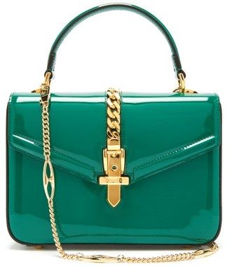 Gucci Sylvie Small Patent-leather Shoulder Bag - Womens - Green