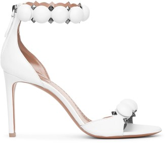 Alaia Bombe 90 white calf leather sandals