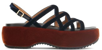 Marni Velvet And Leather Flatform Sandals - Navy Multi