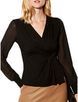Karen Millen Draped Wrap Top, Black