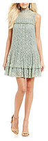 Jodi Kristopher Mock Neck Lace Shift Dress