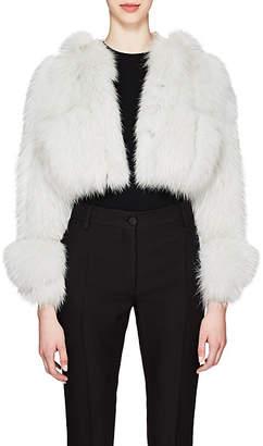 Valentino Women's Fox Fur Crop Jacket - Blue