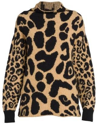 Stella McCartney Leopard-Print Mockneck Knit Sweater