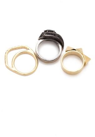 Iosselliani Brass & Rhinestone Ring Set