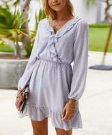 Amasoo Women's Casual Dresses grey - Gray Ruffle-Accent Long-Sleeve Surplice Dress - Women & Juniors