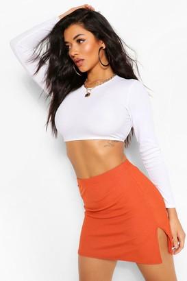 boohoo Ribbed Split Mini Skirt