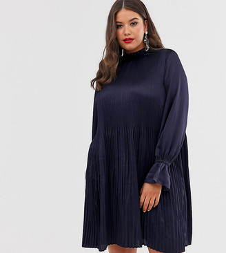 ELVI high neck pleated dress