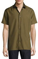 Salvatore Ferragamo Short-Sleeve Silk Shirt, Military Green