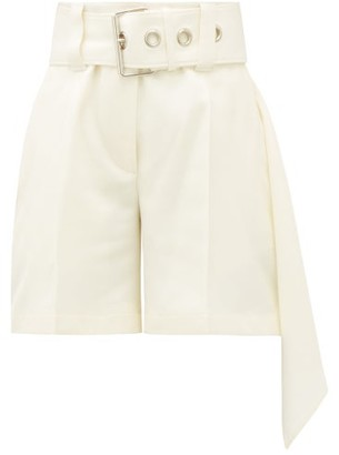 J.W.Anderson Asymmetric Belted Wool-crepe Shorts - Womens - Cream