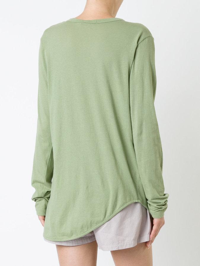 Bassike heritage scoop hem long sleeve T-shirt
