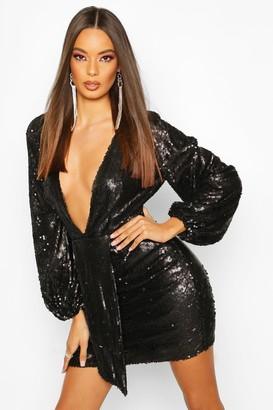 boohoo Sequin Plunge Blouson Sleeve Rouche Mini Dress