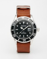 Kahuna Brown Leather Watch With Black Dial