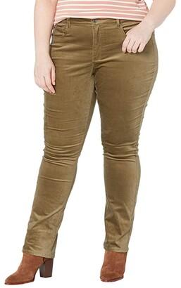 NYDJ, Plus Size Size Plus Size Marilyn Straight Velvet Jeans in Martini Olive (Martini Olive) Women's Jeans