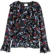 H&M Flounced Silk Top