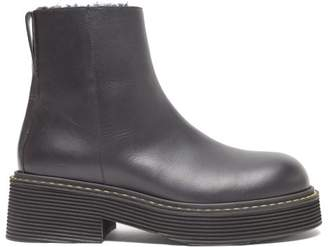 Marni Shearling-lined Platform Leather Boots - Womens - Black