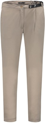 BEIGE Pleated Trousers With Assymetric Leather Belt Detail