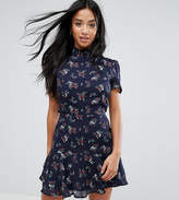 Fashion Union Petite Tea Dress With High Neck In Vintage Floral