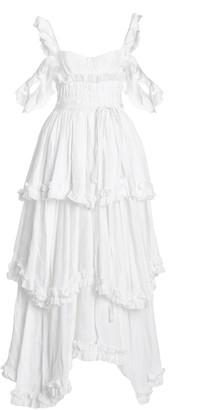 Brock Collection Samanta Tiered Linen Cold-Shoulder Maxi Dress