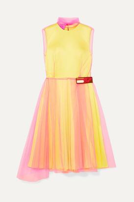 Prada Layered Tulle And Silk-satin Dress - Yellow
